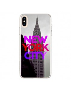 Coque iPhone XS Max New York City Rose Rouge - Javier Martinez