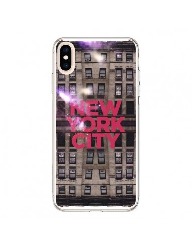 Coque iPhone XS Max New York City Buildings Rouge - Javier Martinez