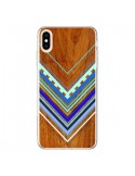 Coque iPhone XS Max Azteque Arbutus Blue Bois Aztec Tribal - Jenny Mhairi