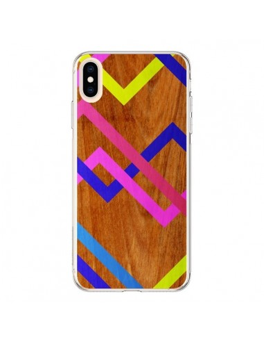 Coque iPhone XS Max Pink Yellow Wooden Bois Azteque Aztec Tribal - Jenny Mhairi
