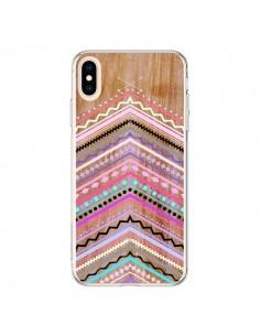 Coque iPhone XS Max Purple Chevron Wild Wood Bois Azteque Aztec Tribal - Jenny Mhairi