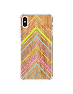 Coque iPhone XS Max Wooden Chevron Pink Bois Azteque Aztec Tribal - Jenny Mhairi