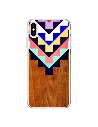 Coque iPhone XS Max Wooden Tribal Bois Azteque Aztec Tribal - Jenny Mhairi