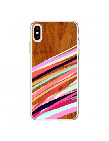 Coque iPhone XS Max Wooden Waves Coral Bois Azteque Aztec Tribal - Jenny Mhairi