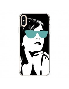 Coque iPhone XS Max Fille Lunettes Bleues - Jonathan Perez