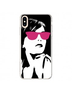 Coque iPhone XS Max Fille Lunettes Roses - Jonathan Perez