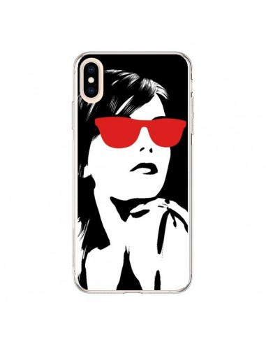 Coque iPhone XS Max Fille Lunettes Rouges - Jonathan Perez