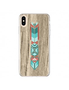 Coque iPhone XS Max Totem Tribal Azteque Bois Wood - Jonathan Perez