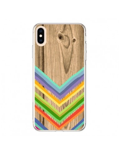 Coque iPhone XS Max Tribal Azteque Bois Wood - Jonathan Perez