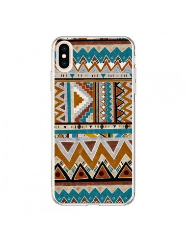 Coque iPhone XS Max Azteque Vert Marron - Kris Tate