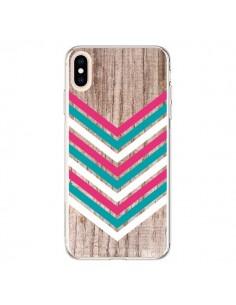 Coque iPhone XS Max Tribal Aztèque Bois Wood Flèche Rose Bleu - Laetitia