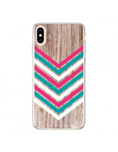 Coque iPhone XS Max Tribal Aztèque Bois Wood Flèche Rose Bleu - Laetitia