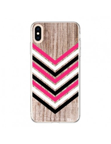 Coque iPhone XS Max Tribal Aztèque Bois Wood Flèche Rose Blanc Noir - Laetitia