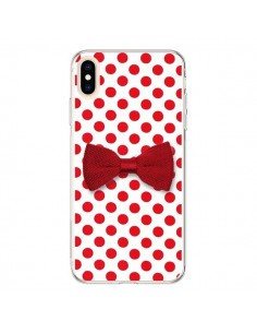 Coque iPhone XS Max Noeud Papillon Rouge Girly Bow Tie - Laetitia