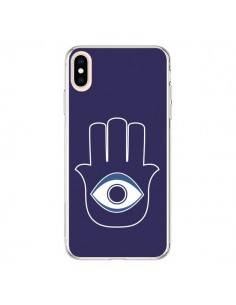 Coque iPhone XS Max Main de Fatma Oeil Bleu - Laetitia