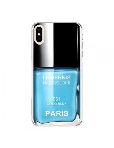 Coque iPhone XS Max Vernis Paris Coco Blue Bleu - Laetitia