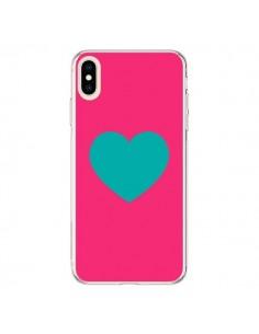 Coque iPhone XS Max Coeur Bleu Fond Rose - Laetitia