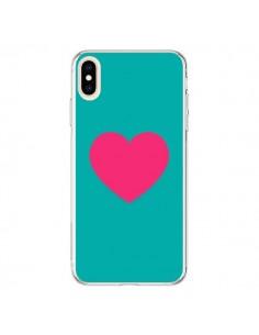 Coque iPhone XS Max Coeur Rose Fond Bleu - Laetitia