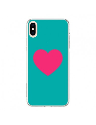 Coque iPhone XS Max Coeur Rose Fond Bleu - Laetitia