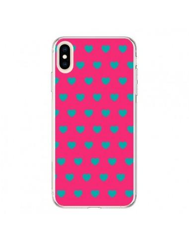 Coque iPhone XS Max Coeurs Bleus Fond Rose - Laetitia