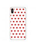 Coque iPhone XS Max Coeurs Rouges Fond Blanc - Laetitia