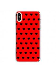 Coque iPhone XS Max Coeurs Noirs Fond Rouge - Laetitia