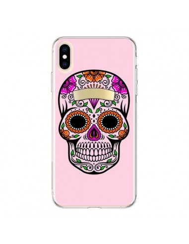 Coque iPhone XS Max Tête de Mort Mexicaine Rose Multicolore - Laetitia
