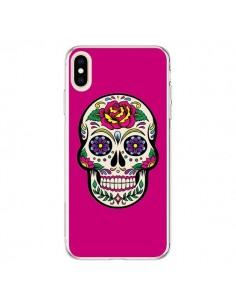 Coque iPhone XS Max Tête de Mort Mexicaine Rose Fushia - Laetitia