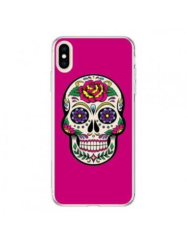 Coque iPhone XS Max Tête de Mort Mexicaine Rose Fushia - Laetitia