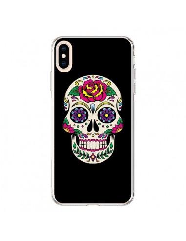 Coque iPhone XS Max Tête de Mort Mexicaine Multicolore Noir - Laetitia