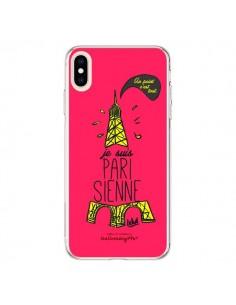 Coque iPhone XS Max Je suis Parisienne La Tour Eiffel Rose - Leellouebrigitte