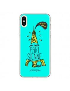 Coque iPhone XS Max Je suis Parisienne La Tour Eiffel Bleu - Leellouebrigitte