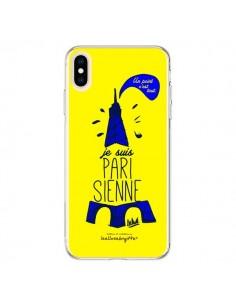 Coque iPhone XS Max Je suis Parisienne La Tour Eiffel Jaune - Leellouebrigitte