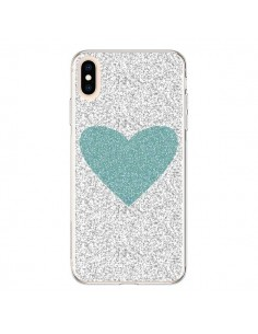 Coque iPhone XS Max Coeur Bleu Vert Argent Love - Mary Nesrala