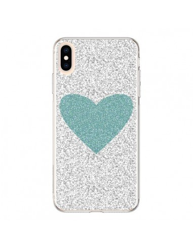 Coque iPhone XS Max Coeur Bleu Vert Argent Love - Mary Nesrala