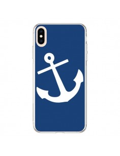 Coque iPhone XS Max Ancre Navire Navy Blue Anchor - Mary Nesrala