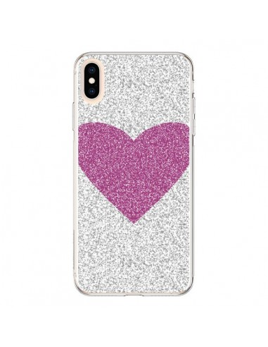 Coque iPhone XS Max Coeur Rose Argent Love - Mary Nesrala