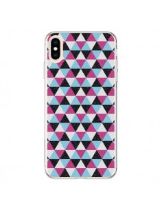 Coque iPhone XS Max Azteque Triangles Rose Bleu Gris - Mary Nesrala
