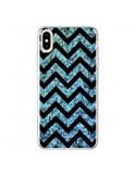 Coque iPhone XS Max Chevron Aqua Sparkle Triangle Azteque - Mary Nesrala