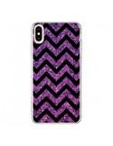 Coque iPhone XS Max Chevron Purple Sparkle Triangle Azteque - Mary Nesrala