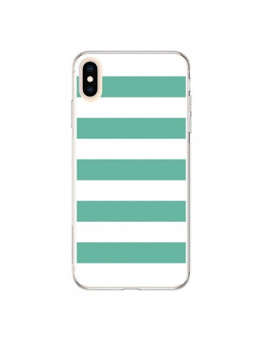 Coque iPhone XS Max Bandes Mint Vert - Mary Nesrala