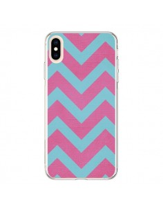 Coque iPhone XS Max Strawberry Chevron Rose Bleu - Mary Nesrala
