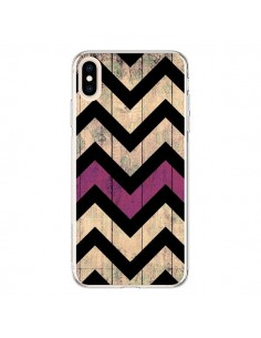 Coque iPhone XS Max Chevron Vintage Bois Wood - Mary Nesrala