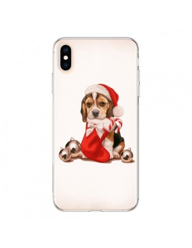 Coque iPhone XS Max Chien Dog Pere Noel Christmas - Maryline Cazenave