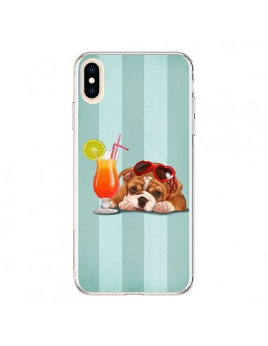 Coque iPhone XS Max Chien Dog Cocktail Lunettes Coeur - Maryline Cazenave
