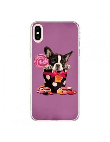 Coque iPhone XS Max Chien Dog Boite Noeud Papillon Pois Bonbon - Maryline Cazenave