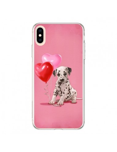 Coque iPhone XS Max Chien Dog Dalmatien Ballon Coeur - Maryline Cazenave