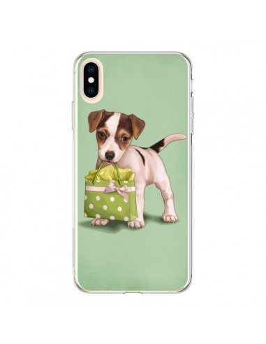 Coque iPhone XS Max Chien Dog Shopping Sac Pois Vert - Maryline Cazenave