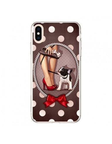 Coque iPhone XS Max Lady Jambes Chien Dog Pois Noeud papillon - Maryline Cazenave