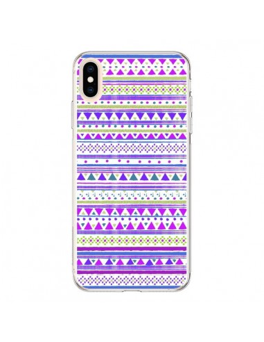 Coque iPhone XS Max Bandana Violet Azteque - Monica Martinez